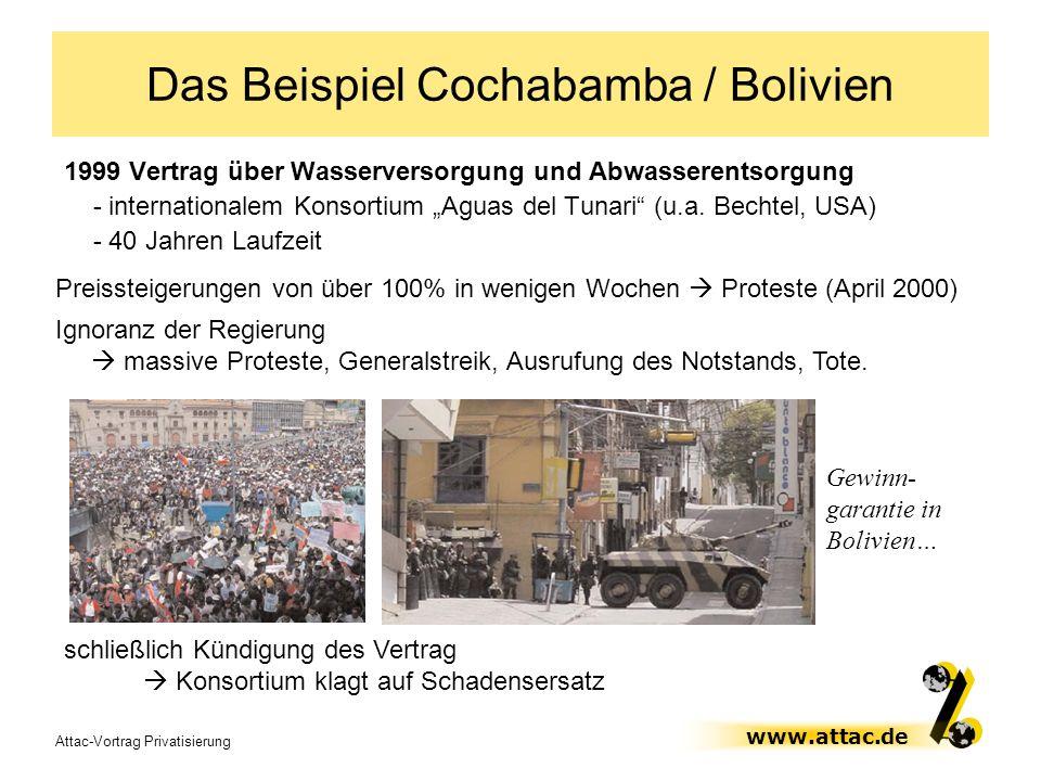 Attac-Vortrag Privatisierung www.attac.de Das Beispiel Cochabamba / Bolivien 1999 Vertrag über Wasserversorgung und Abwasserentsorgung - international