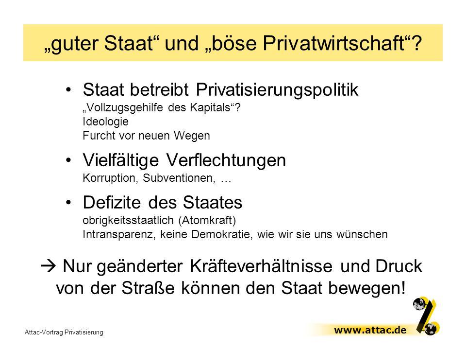 Attac-Vortrag Privatisierung www.attac.de guter Staat und böse Privatwirtschaft? Staat betreibt Privatisierungspolitik Vollzugsgehilfe des Kapitals? I