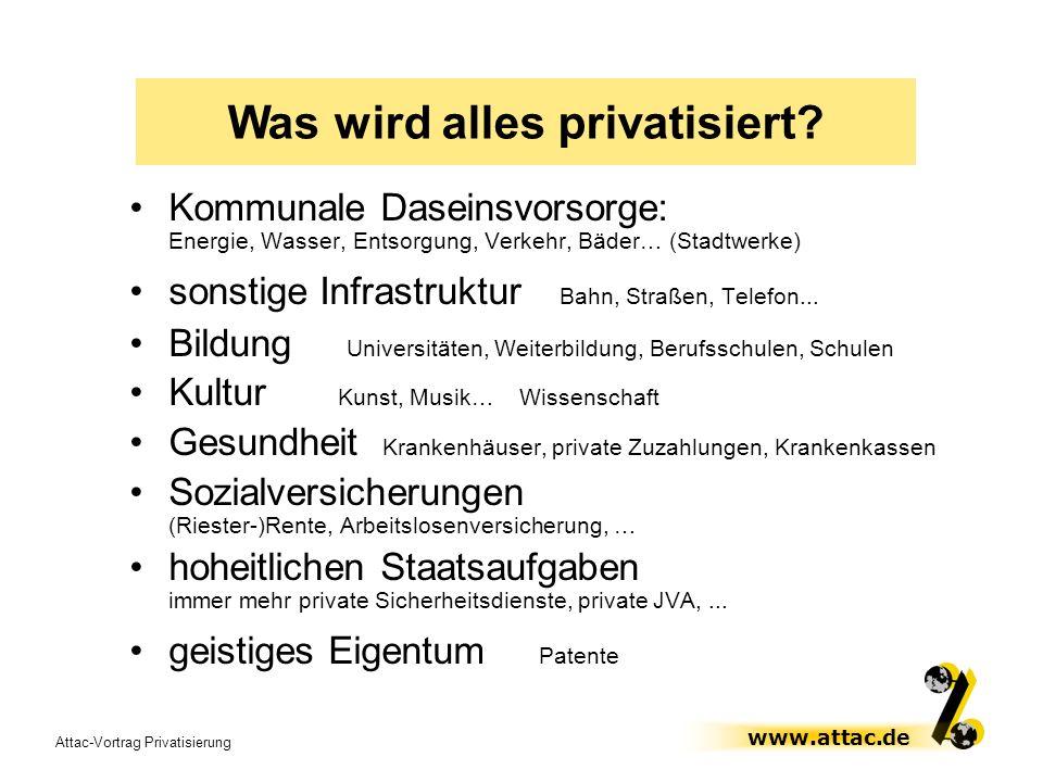 Attac-Vortrag Privatisierung www.attac.de Kommunale Daseinsvorsorge: Energie, Wasser, Entsorgung, Verkehr, Bäder… (Stadtwerke) sonstige Infrastruktur