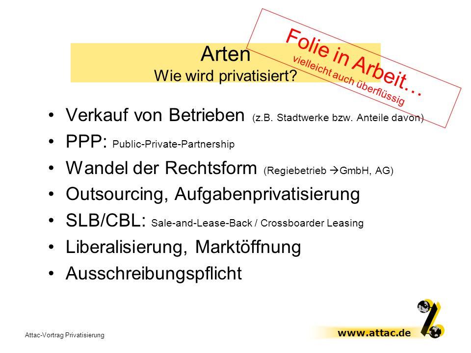 Attac-Vortrag Privatisierung www.attac.de Verkauf von Betrieben (z.B. Stadtwerke bzw. Anteile davon) PPP: Public-Private-Partnership Wandel der Rechts