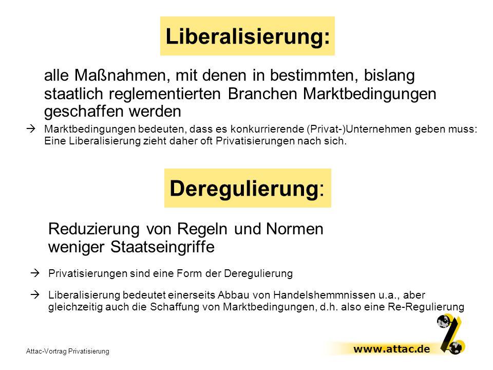 Attac-Vortrag Privatisierung www.attac.de Liberalisierung: alle Maßnahmen, mit denen in bestimmten, bislang staatlich reglementierten Branchen Marktbe