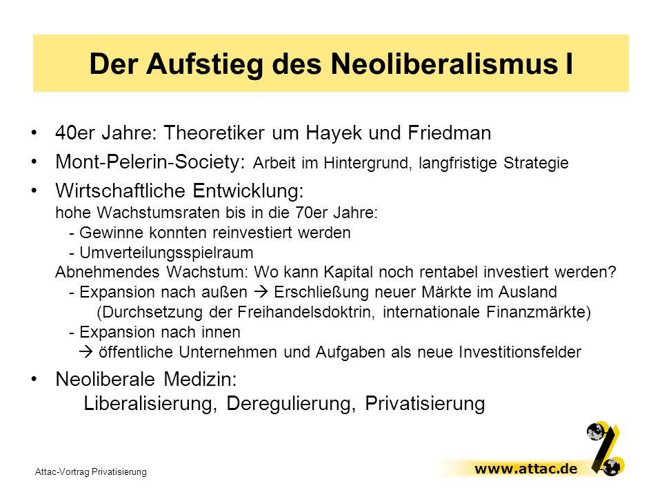 Attac-Vortrag Privatisierung www.attac.de Der Aufstieg des Neoliberalismus I 40er Jahre: Theoretiker um Hayek und Friedman Mont-Pelerin-Society: Arbei