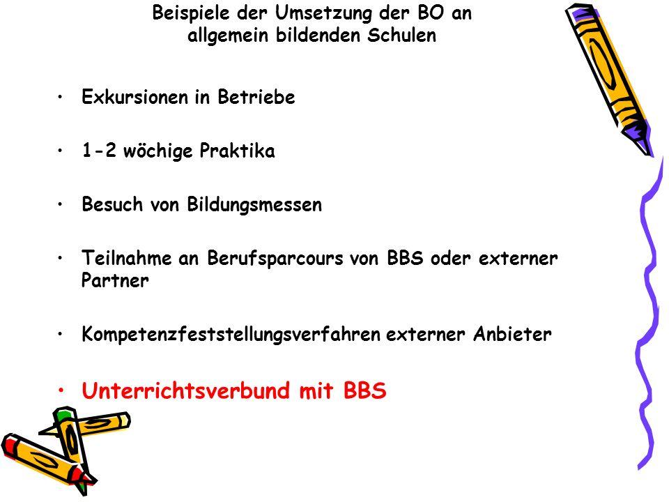 Beispiele der Umsetzung der BO an allgemein bildenden Schulen Exkursionen in Betriebe 1-2 wöchige Praktika Besuch von Bildungsmessen Teilnahme an Beru