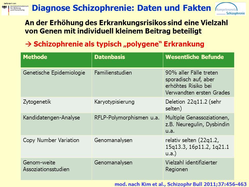 Gefördert vom Diagnose Schizophrenie: Daten und Fakten An der Erhöhung des Erkrankungsrisikos sind eine Vielzahl von Genen mit individuell kleinem Bei