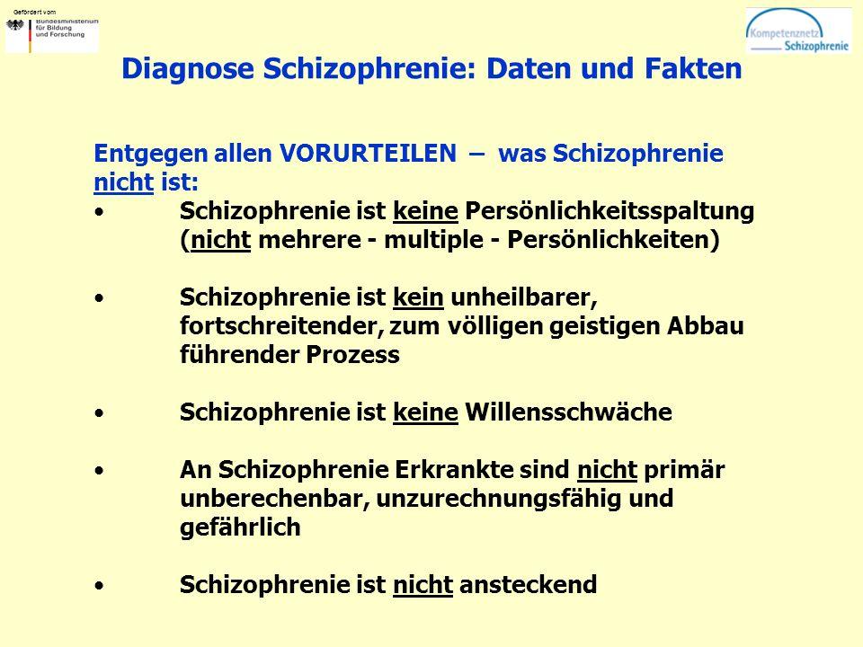 Gefördert vom Diagnose Schizophrenie: Daten und Fakten Entgegen allen VORURTEILEN – was Schizophrenie nicht ist: Schizophrenie ist keine Persönlichkeitsspaltung (nicht mehrere - multiple - Persönlichkeiten) Schizophrenie ist kein unheilbarer, fortschreitender, zum völligen geistigen Abbau führender Prozess Schizophrenie ist keine Willensschwäche An Schizophrenie Erkrankte sind nicht primär unberechenbar, unzurechnungsfähig und gefährlich Schizophrenie ist nicht ansteckend