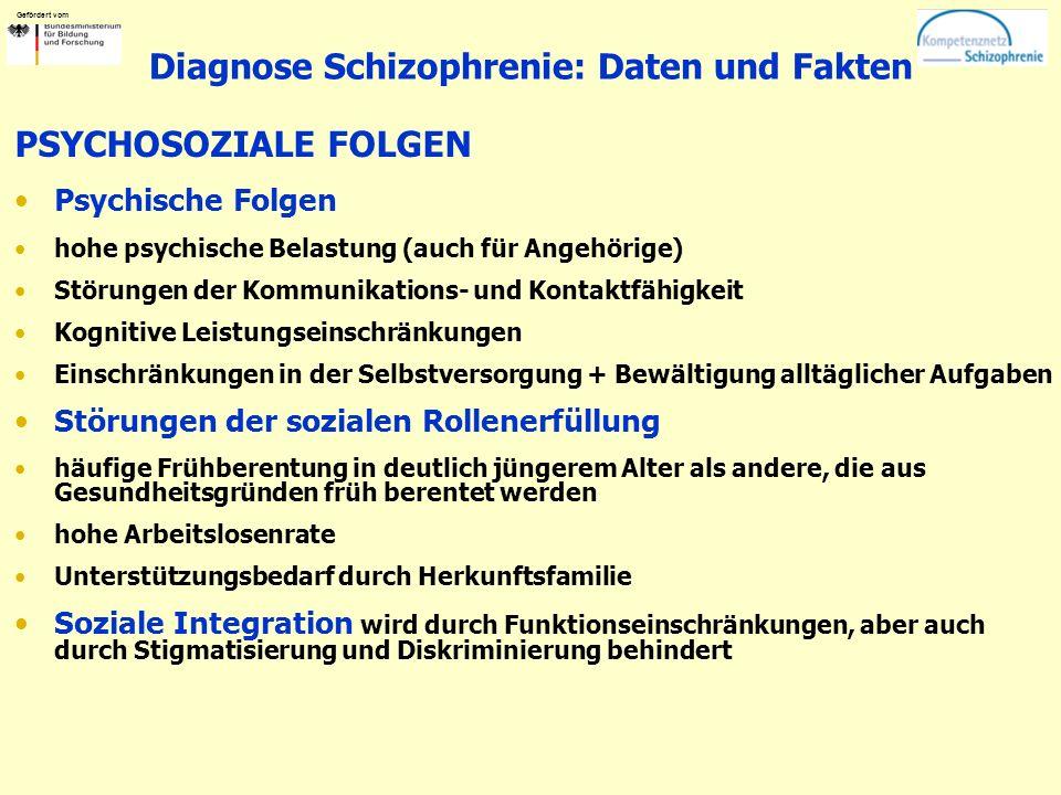 Gefördert vom Diagnose Schizophrenie: Daten und Fakten PSYCHOSOZIALE FOLGEN Psychische Folgen hohe psychische Belastung (auch für Angehörige) Störungen der Kommunikations- und Kontaktfähigkeit Kognitive Leistungseinschränkungen Einschränkungen in der Selbstversorgung + Bewältigung alltäglicher Aufgaben Störungen der sozialen Rollenerfüllung häufige Frühberentung in deutlich jüngerem Alter als andere, die aus Gesundheitsgründen früh berentet werden hohe Arbeitslosenrate Unterstützungsbedarf durch Herkunftsfamilie Soziale Integration wird durch Funktionseinschränkungen, aber auch durch Stigmatisierung und Diskriminierung behindert