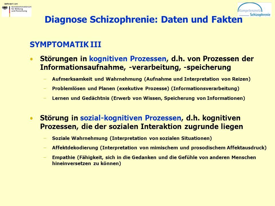 Gefördert vom Diagnose Schizophrenie: Daten und Fakten SYMPTOMATIK III Störungen in kognitiven Prozessen, d.h. von Prozessen der Informationsaufnahme,
