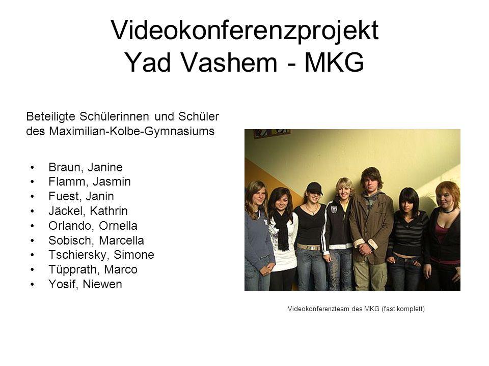 Videokonferenzprojekt Yad Vashem - MKG Braun, Janine Flamm, Jasmin Fuest, Janin Jäckel, Kathrin Orlando, Ornella Sobisch, Marcella Tschiersky, Simone