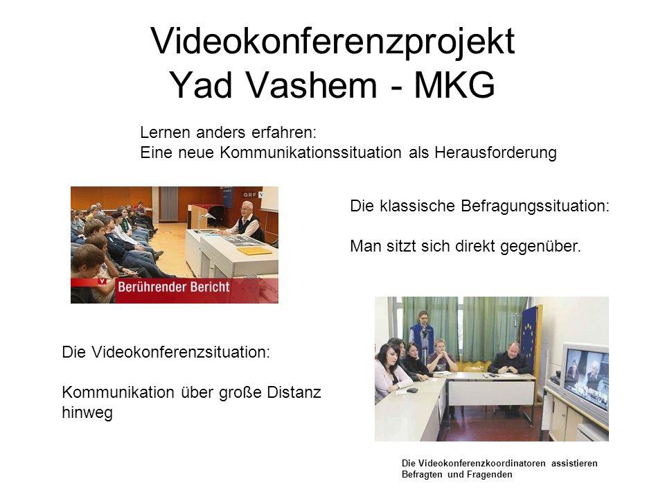 Videokonferenzprojekt Yad Vashem - MKG Die klassische Befragungssituation: Man sitzt sich direkt gegenüber. Die Videokonferenzsituation: Kommunikation