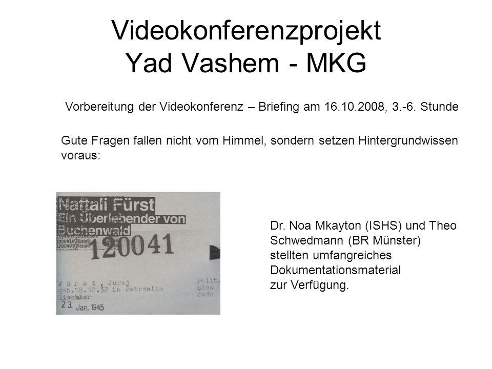 Videokonferenzprojekt Yad Vashem - MKG Gute Fragen fallen nicht vom Himmel, sondern setzen Hintergrundwissen voraus: Vorbereitung der Videokonferenz –