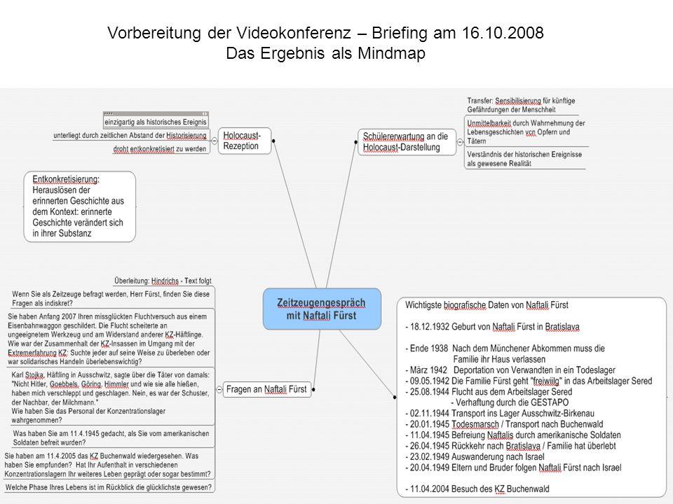 Vorbereitung der Videokonferenz – Briefing am 16.10.2008 Das Ergebnis als Mindmap