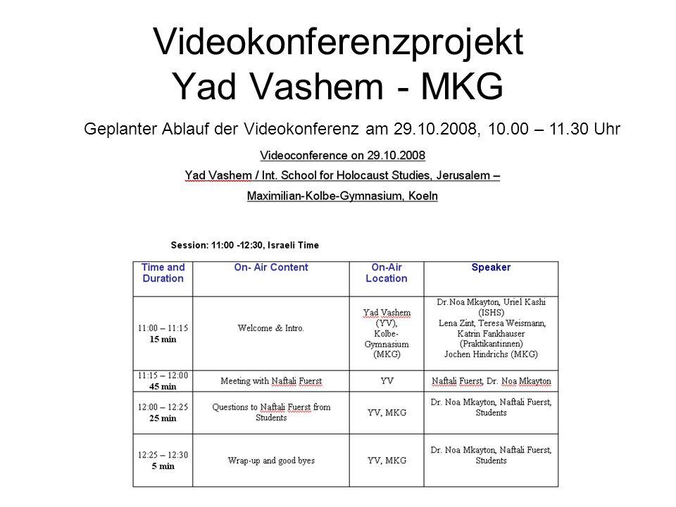 Videokonferenzprojekt Yad Vashem - MKG Geplanter Ablauf der Videokonferenz am 29.10.2008, 10.00 – 11.30 Uhr