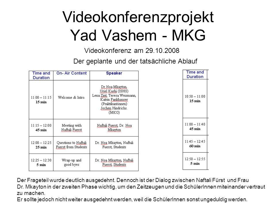 Videokonferenzprojekt Yad Vashem - MKG Der Frageteil wurde deutlich ausgedehnt. Dennoch ist der Dialog zwischen Naftali Fürst und Frau Dr. Mkayton in