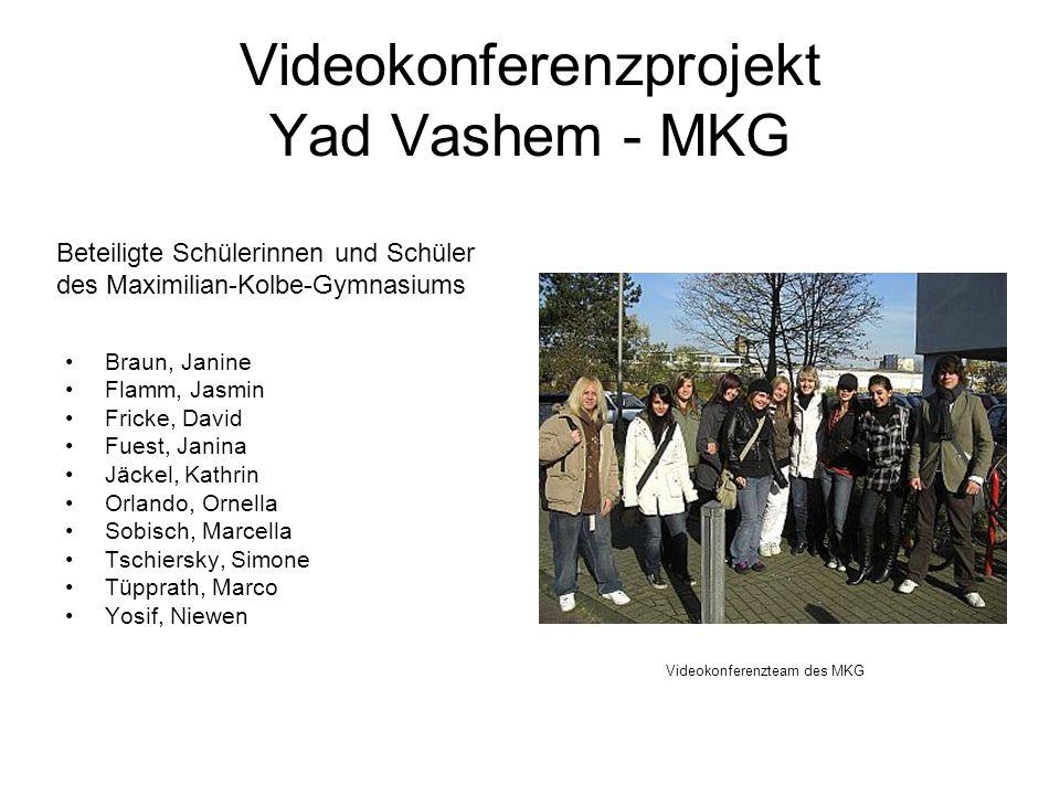 Videokonferenzprojekt Yad Vashem - MKG Braun, Janine Flamm, Jasmin Fricke, David Fuest, Janina Jäckel, Kathrin Orlando, Ornella Sobisch, Marcella Tsch