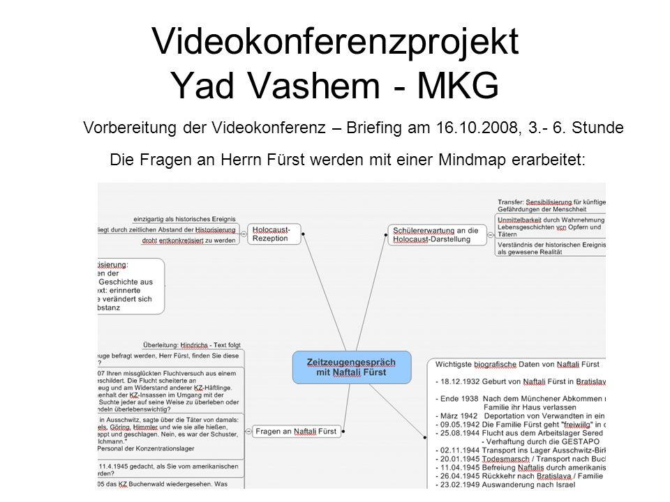 Videokonferenzprojekt Yad Vashem - MKG Die Fragen an Herrn Fürst werden mit einer Mindmap erarbeitet: Vorbereitung der Videokonferenz – Briefing am 16