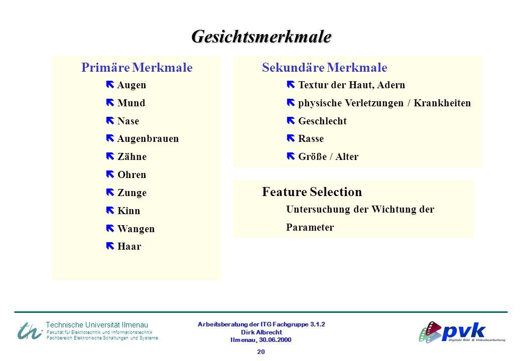 Arbeitsberatung der ITG Fachgruppe 3.1.2 Dirk Albrecht Ilmenau, 30.06.2000 20 Fakultät für Elektrotechnik und Informationstechnik Fachbereich Elektron