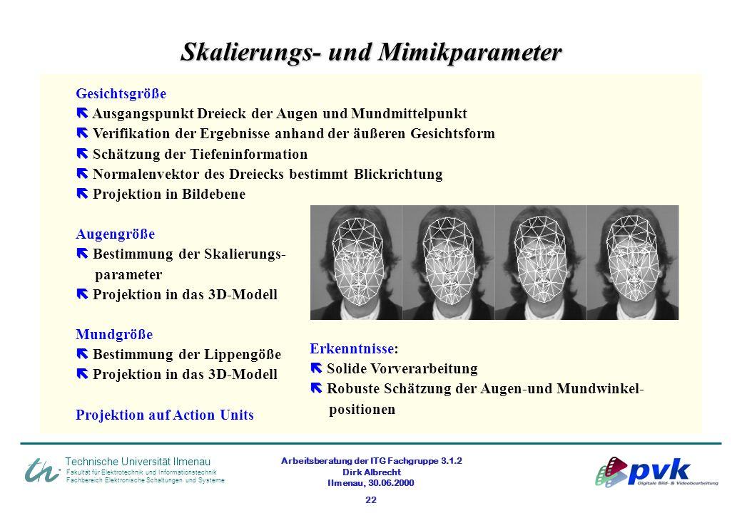Arbeitsberatung der ITG Fachgruppe 3.1.2 Dirk Albrecht Ilmenau, 30.06.2000 22 Skalierungs- und Mimikparameter Fakultät für Elektrotechnik und Informat