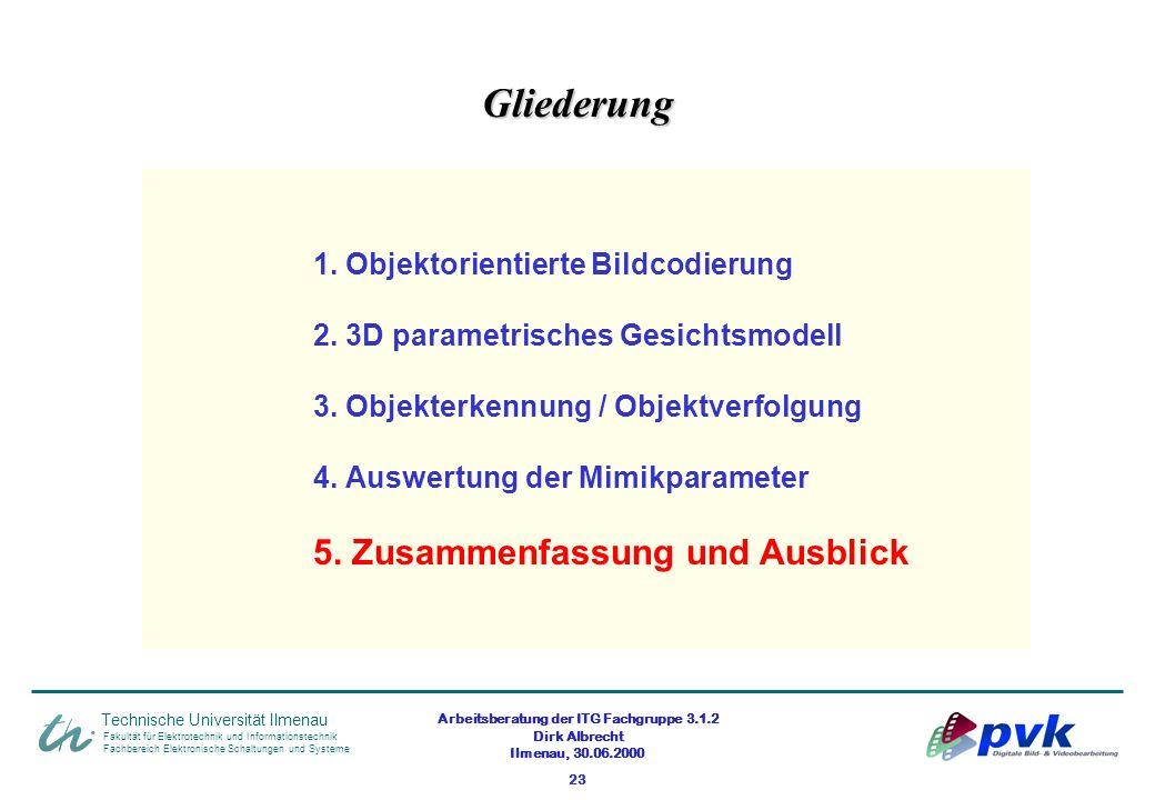 Arbeitsberatung der ITG Fachgruppe 3.1.2 Dirk Albrecht Ilmenau, 30.06.2000 23 Fakultät für Elektrotechnik und Informationstechnik Fachbereich Elektron