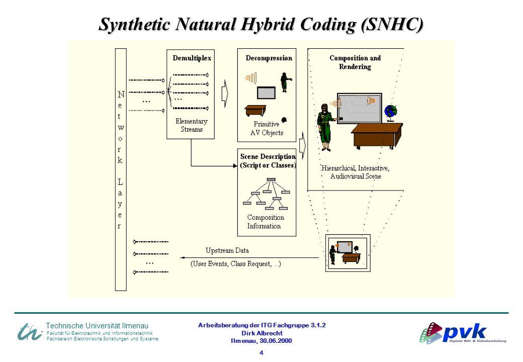 Arbeitsberatung der ITG Fachgruppe 3.1.2 Dirk Albrecht Ilmenau, 30.06.2000 4 Synthetic Natural Hybrid Coding (SNHC) Fakultät für Elektrotechnik und In