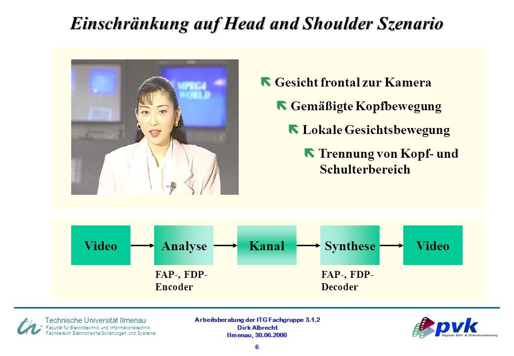 Arbeitsberatung der ITG Fachgruppe 3.1.2 Dirk Albrecht Ilmenau, 30.06.2000 6 Fakultät für Elektrotechnik und Informationstechnik Fachbereich Elektroni
