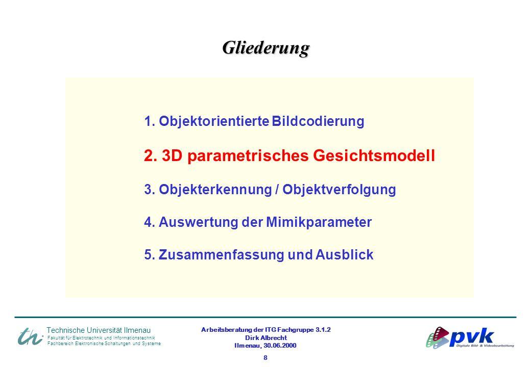 Arbeitsberatung der ITG Fachgruppe 3.1.2 Dirk Albrecht Ilmenau, 30.06.2000 8 Fakultät für Elektrotechnik und Informationstechnik Fachbereich Elektroni