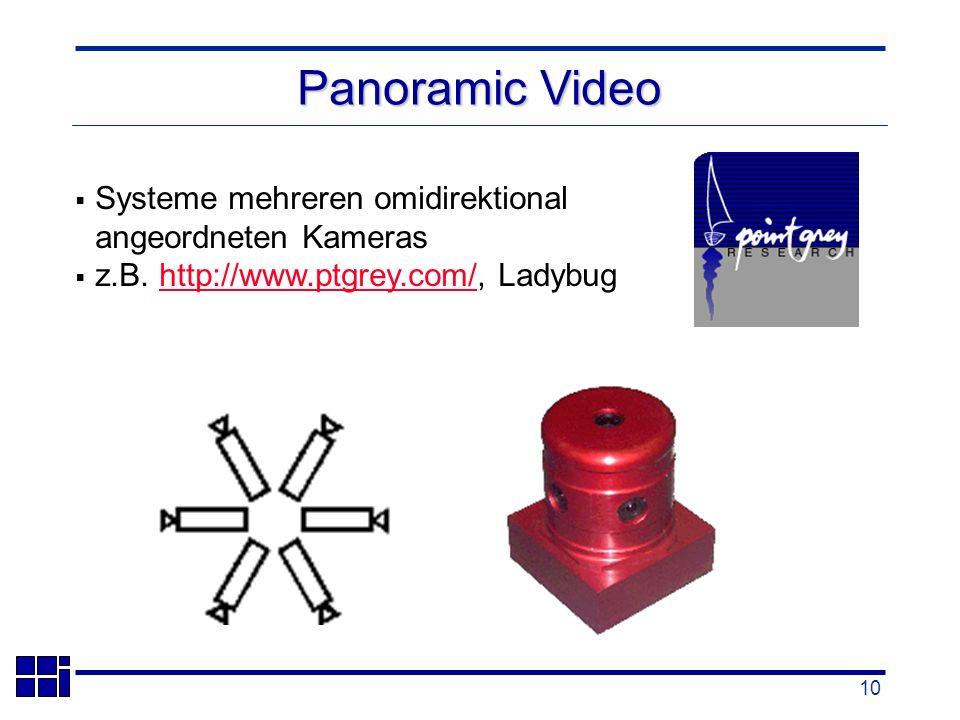 10 Systeme mehreren omidirektional angeordneten Kameras z.B.
