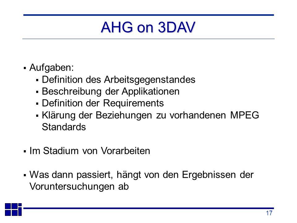 17 Aufgaben: Definition des Arbeitsgegenstandes Beschreibung der Applikationen Definition der Requirements Klärung der Beziehungen zu vorhandenen MPEG Standards Im Stadium von Vorarbeiten Was dann passiert, hängt von den Ergebnissen der Voruntersuchungen ab AHG on 3DAV