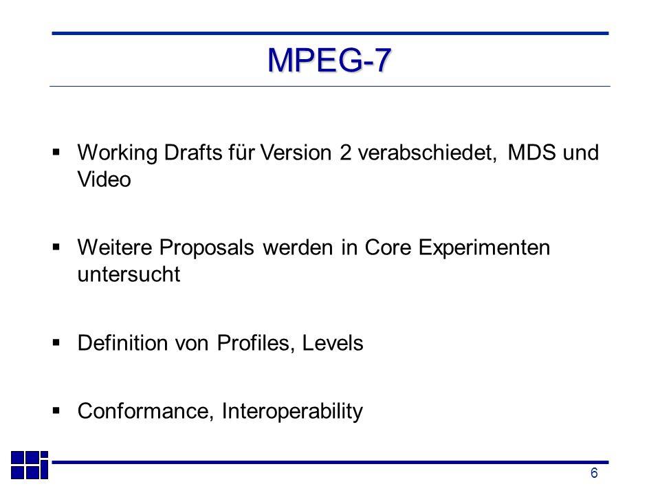 6 MPEG-7 Working Drafts für Version 2 verabschiedet, MDS und Video Weitere Proposals werden in Core Experimenten untersucht Definition von Profiles, Levels Conformance, Interoperability