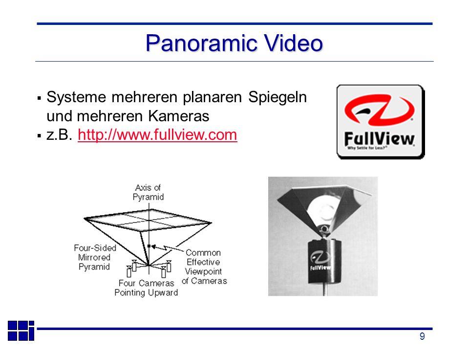 9 Systeme mehreren planaren Spiegeln und mehreren Kameras z.B.
