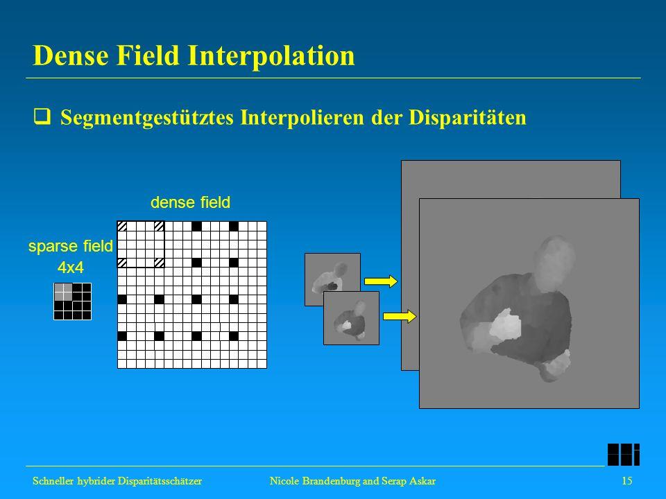 Schneller hybrider Disparitätsschätzer 15 Nicole Brandenburg and Serap Askar Dense Field Interpolation Segmentgestütztes Interpolieren der Disparitäte