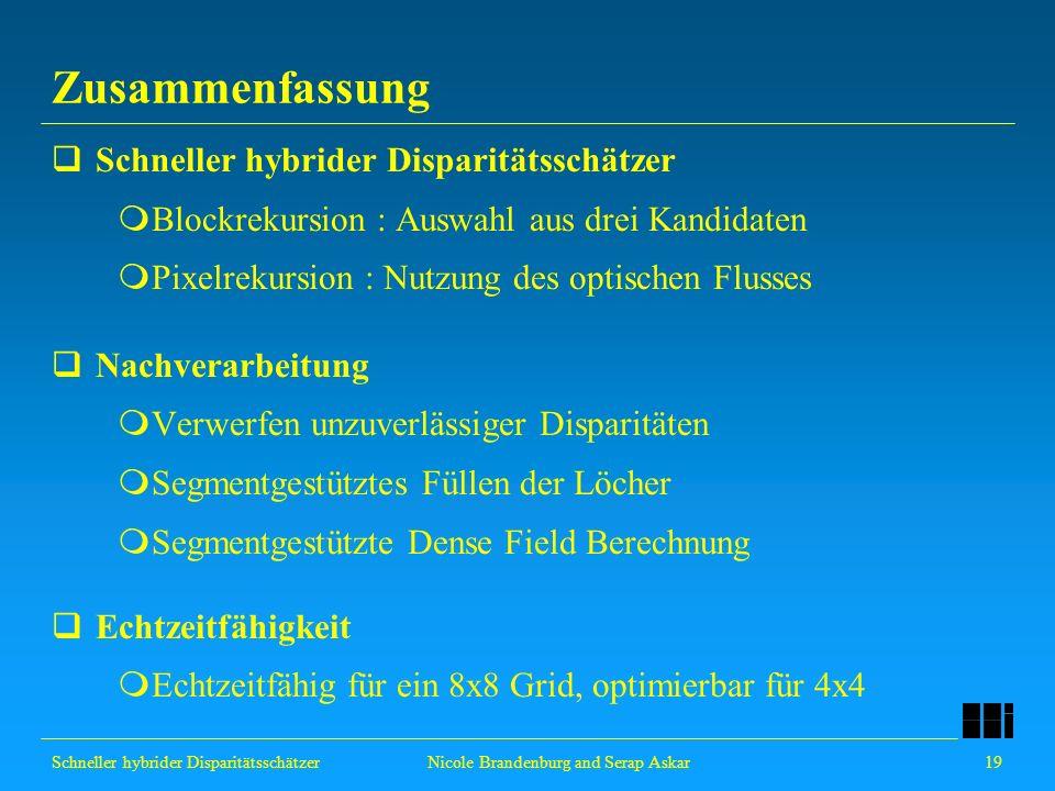 Schneller hybrider Disparitätsschätzer 19 Nicole Brandenburg and Serap Askar Zusammenfassung Schneller hybrider Disparitätsschätzer Blockrekursion : A