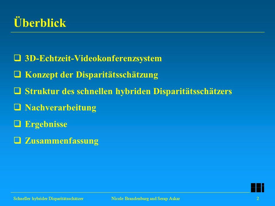 Schneller hybrider Disparitätsschätzer 2 Nicole Brandenburg and Serap Askar Überblick 3D-Echtzeit-Videokonferenzsystem Konzept der Disparitätsschätzun