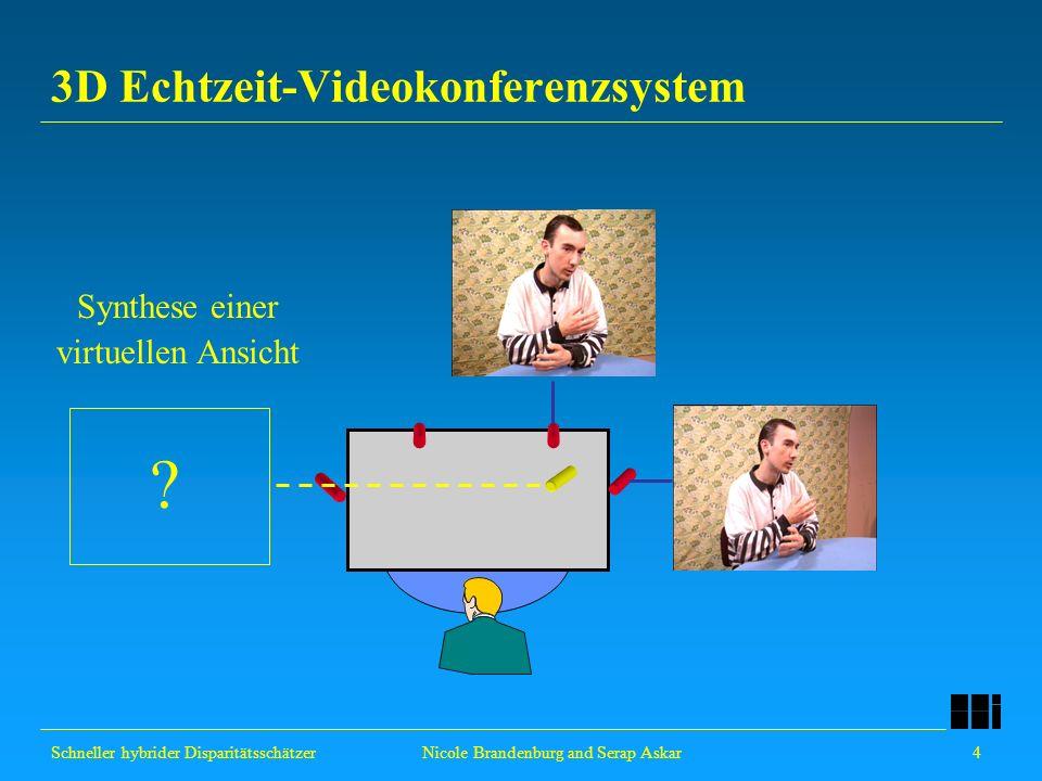 Schneller hybrider Disparitätsschätzer 4 Nicole Brandenburg and Serap Askar 3D Echtzeit-Videokonferenzsystem Synthese einer virtuellen Ansicht