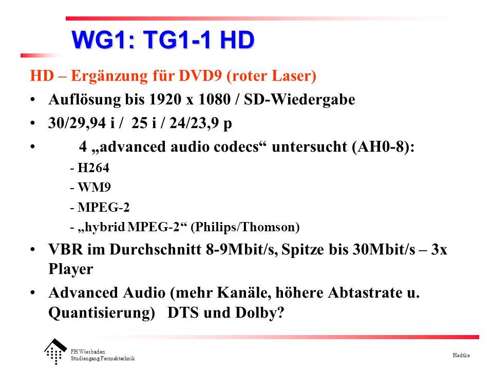 FH Wiesbaden Studiengang Fernsehtechnik Hedtke WG1: TG1-1 HD HD – Ergänzung für DVD9 (roter Laser) Auflösung bis 1920 x 1080 / SD-Wiedergabe 30/29,94 i / 25 i / 24/23,9 p 4 advanced audio codecs untersucht (AH0-8): - H264 - WM9 - MPEG-2 - hybrid MPEG-2 (Philips/Thomson) VBR im Durchschnitt 8-9Mbit/s, Spitze bis 30Mbit/s – 3x Player Advanced Audio (mehr Kanäle, höhere Abtastrate u.