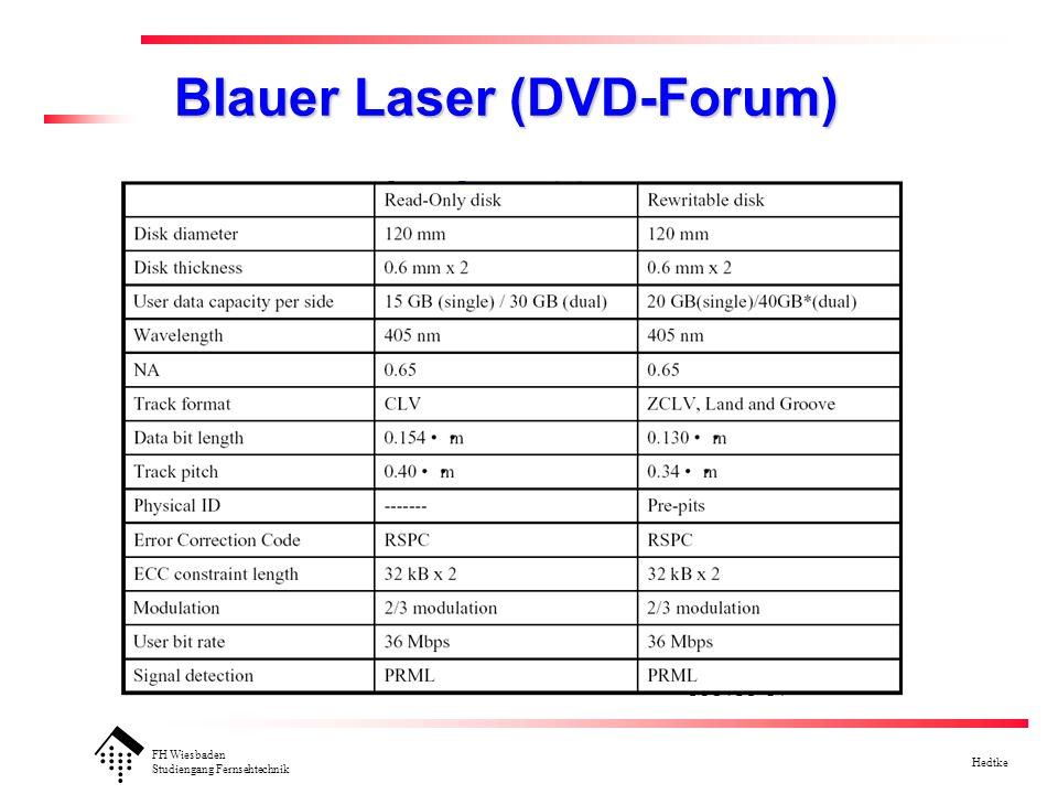 FH Wiesbaden Studiengang Fernsehtechnik Hedtke Blauer Laser (DVD-Forum)