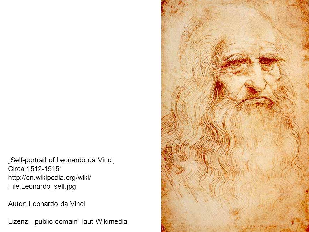 Self-portrait of Leonardo da Vinci, Circa 1512-1515 http://en.wikipedia.org/wiki/ File:Leonardo_self.jpg Autor: Leonardo da Vinci Lizenz: public domain laut Wikimedia