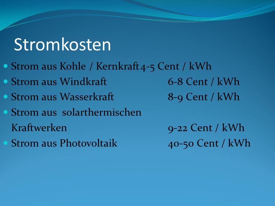Stromkosten Strom aus Kohle / Kernkraft4-5 Cent / kWh Strom aus Windkraft6-8 Cent / kWh Strom aus Wasserkraft8-9 Cent / kWh Strom aus solarthermischen Kraftwerken9-22 Cent / kWh Strom aus Photovoltaik40-50 Cent / kWh