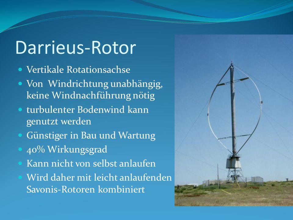 Darrieus-Rotor Vertikale Rotationsachse Von Windrichtung unabhängig, keine Windnachführung nötig turbulenter Bodenwind kann genutzt werden Günstiger in Bau und Wartung 40% Wirkungsgrad Kann nicht von selbst anlaufen Wird daher mit leicht anlaufenden Savonis-Rotoren kombiniert