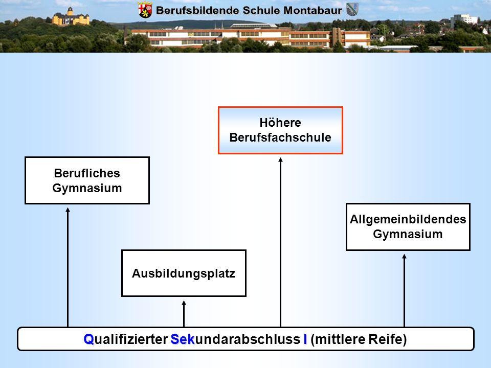 QSekI Qualifizierter Sekundarabschluss I (mittlere Reife) Allgemeinbildendes Gymnasium Ausbildungsplatz Berufliches Gymnasium Höhere Berufsfachschule