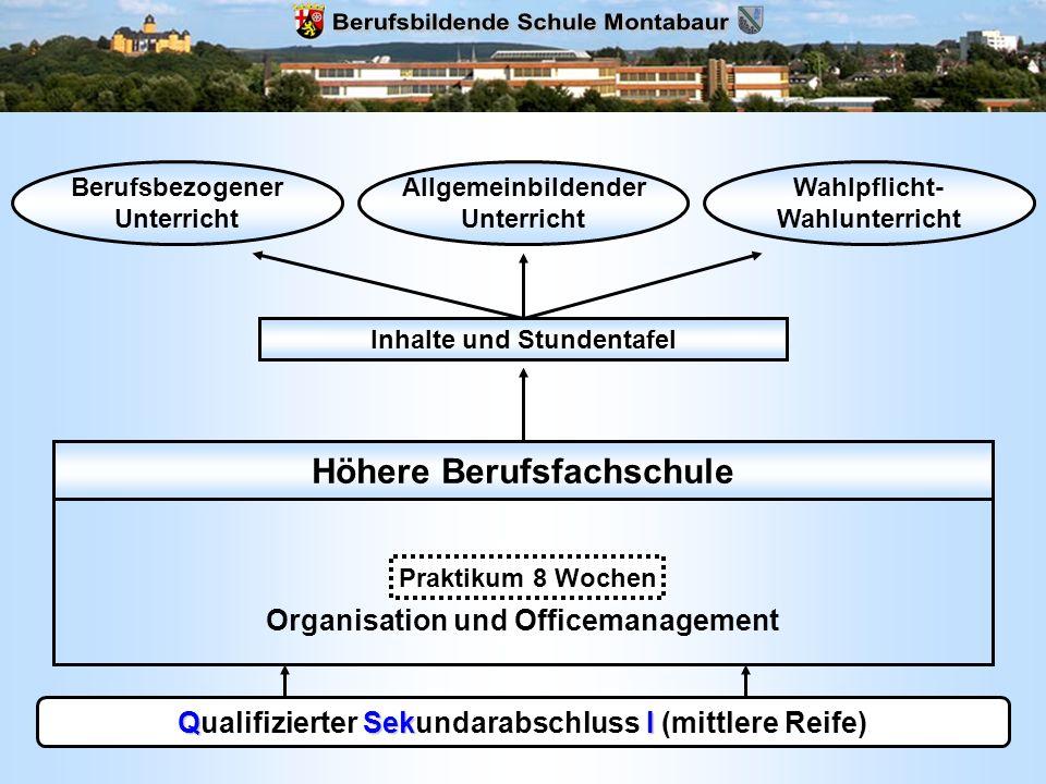 QSekI Qualifizierter Sekundarabschluss I (mittlere Reife) Höhere Berufsfachschule Fachrichtung Organisation und Officemanagement Inhalte und Stundenta