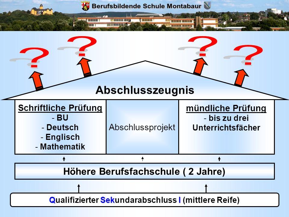 QSekI Qualifizierter Sekundarabschluss I (mittlere Reife) Höhere Berufsfachschule ( 2 Jahre) Schriftliche Prüfung - BU - Deutsch - Englisch - Mathemat