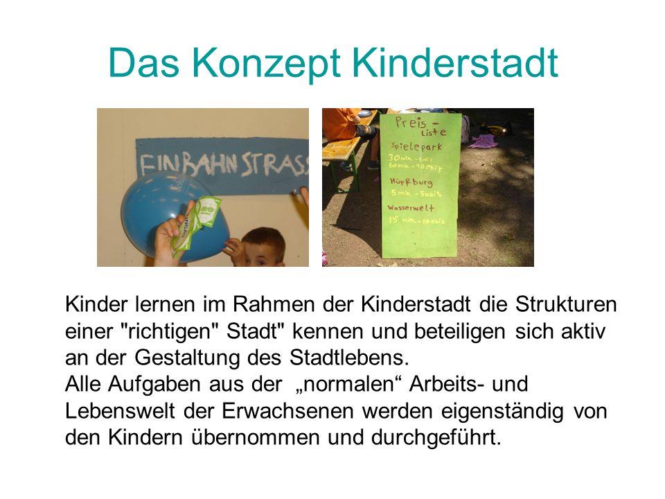 Das Konzept Kinderstadt Kinder lernen im Rahmen der Kinderstadt die Strukturen einer