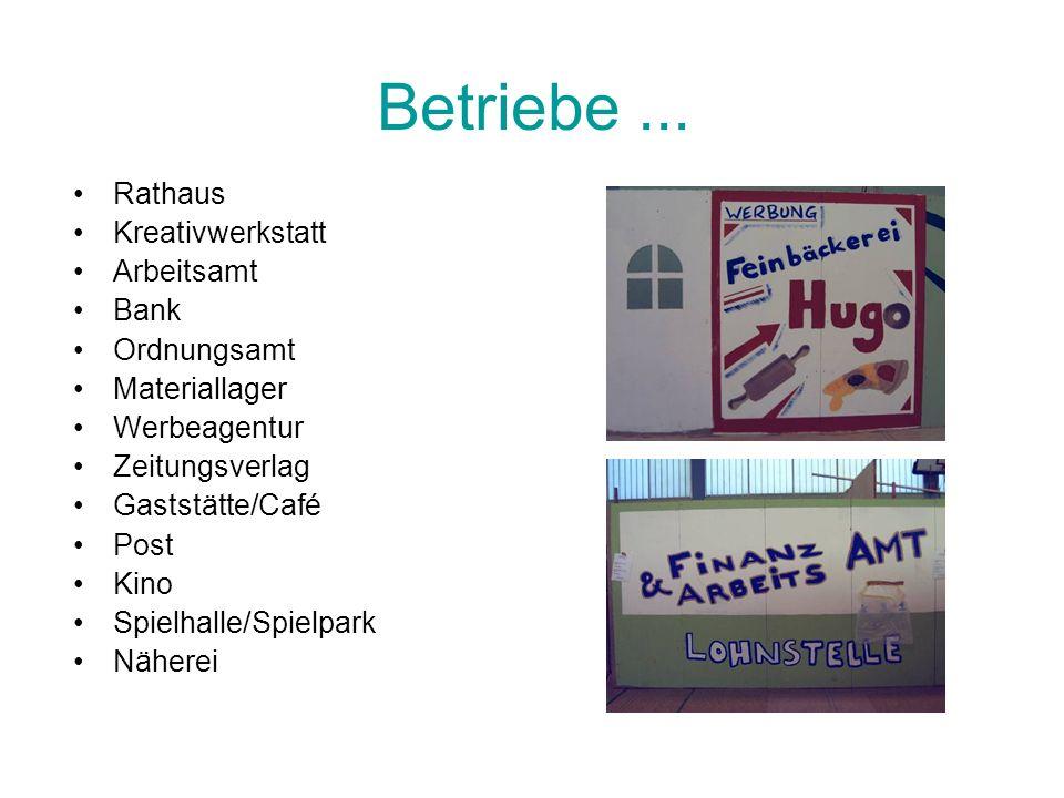 Betriebe... Rathaus Kreativwerkstatt Arbeitsamt Bank Ordnungsamt Materiallager Werbeagentur Zeitungsverlag Gaststätte/Café Post Kino Spielhalle/Spielp