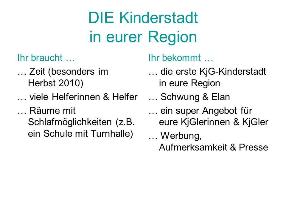 DIE Kinderstadt in eurer Region Ihr braucht … … Zeit (besonders im Herbst 2010) … viele Helferinnen & Helfer … Räume mit Schlafmöglichkeiten (z.B. ein