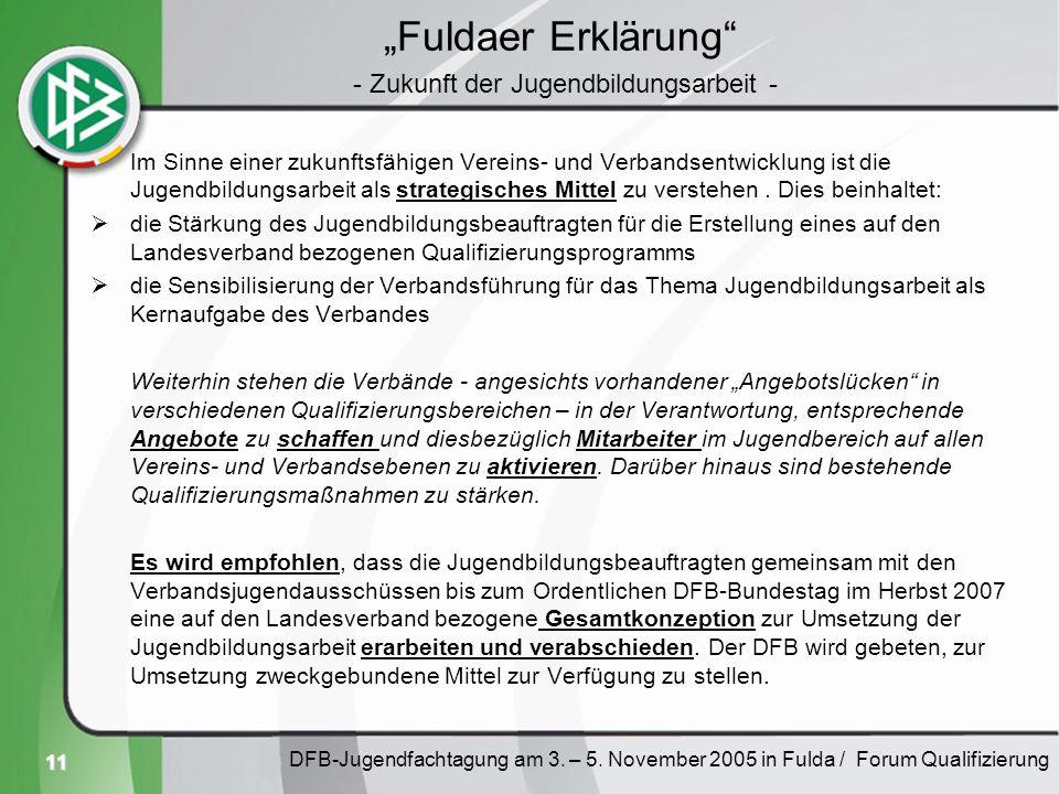 11 Fuldaer Erklärung Im Sinne einer zukunftsfähigen Vereins- und Verbandsentwicklung ist die Jugendbildungsarbeit als strategisches Mittel zu verstehe