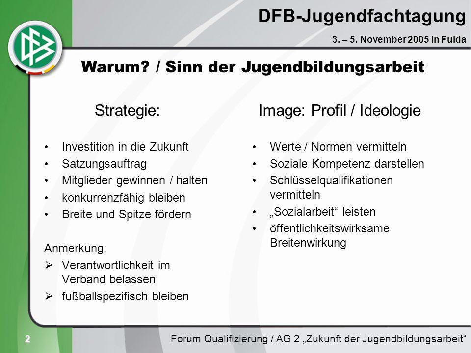3 DFB-Jugendfachtagung sportfachlich Trainer C / FÜL C lizenzierte Trainer nicht-lizenzierte Trainer Jugendliche / Jungtrainer/innen Jung-SR SR-Betreuer Seniorenspieler Forum Qualifizierung / AG 2 Zukunft der Jugendbildungsarbeit 3.