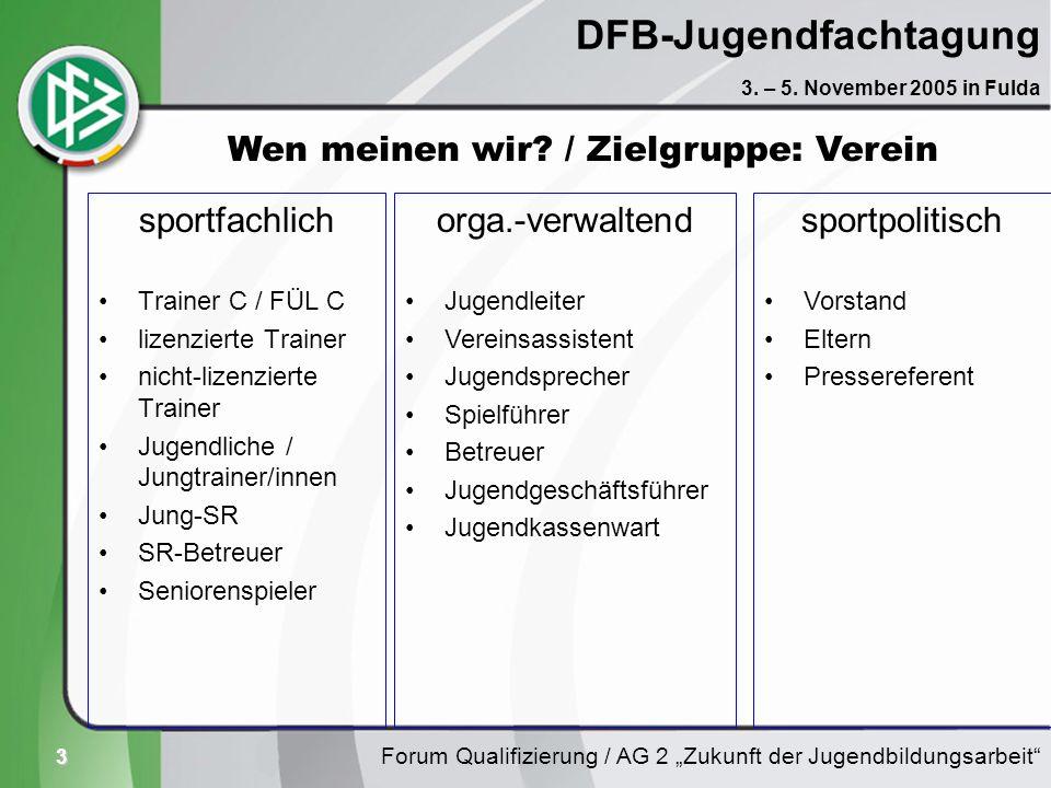 3 DFB-Jugendfachtagung sportfachlich Trainer C / FÜL C lizenzierte Trainer nicht-lizenzierte Trainer Jugendliche / Jungtrainer/innen Jung-SR SR-Betreu