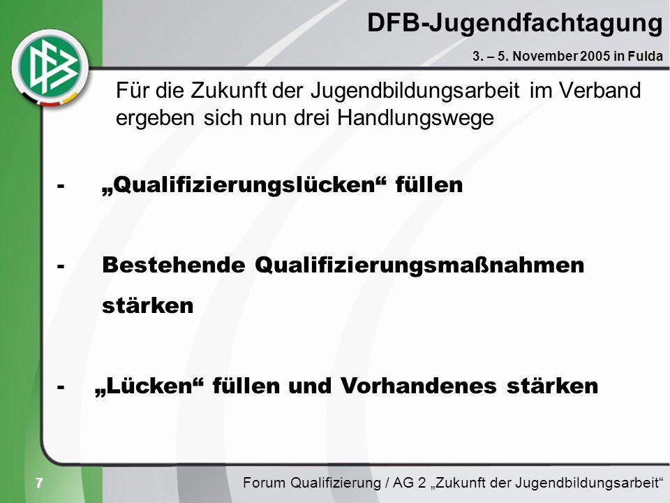 7 DFB-Jugendfachtagung Für die Zukunft der Jugendbildungsarbeit im Verband ergeben sich nun drei Handlungswege Forum Qualifizierung / AG 2 Zukunft der