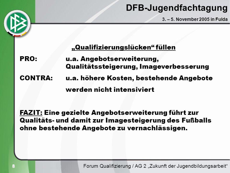 8 DFB-Jugendfachtagung Forum Qualifizierung / AG 2 Zukunft der Jugendbildungsarbeit 3. – 5. November 2005 in Fulda Qualifizierungslücken füllen PRO: u
