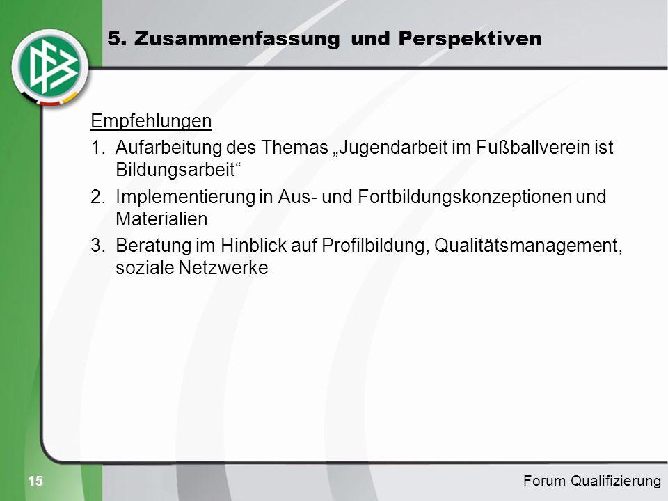 15 Empfehlungen 1.Aufarbeitung des Themas Jugendarbeit im Fußballverein ist Bildungsarbeit 2.Implementierung in Aus- und Fortbildungskonzeptionen und